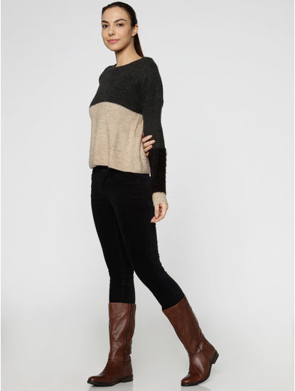 Grey Colour Blocked Fur Sleeves Pullover