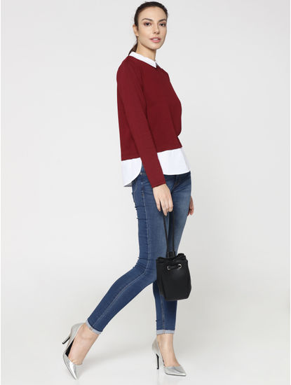 Maroon And White Colourblocked Top