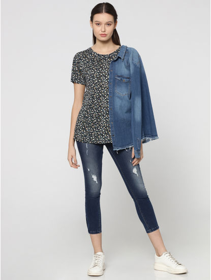 Blue All Over Floral Print Top