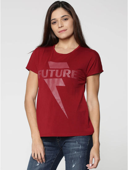 Red Graphic Text Print T-shirt