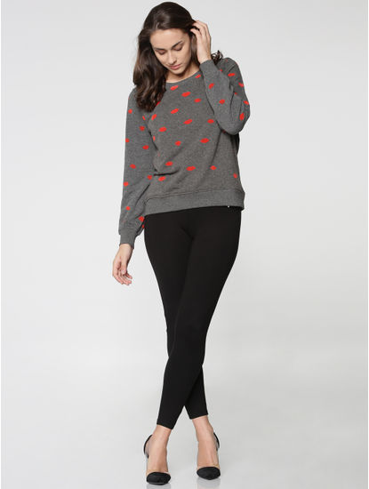 Grey All Over Lip Print Sweatshirt