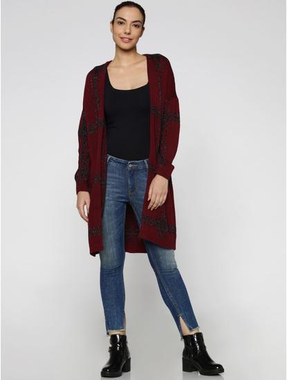 Maroon Shimmer Checks Long Cardigan