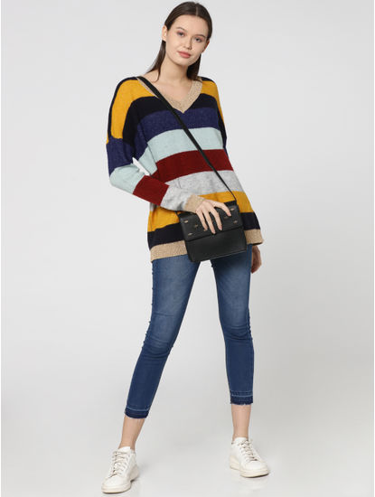 Blue Striped Colour Blocked Pullover