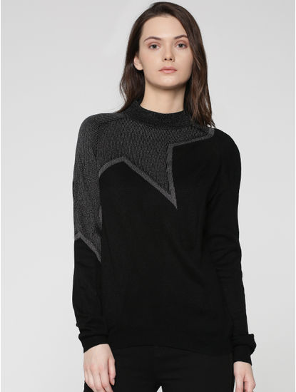 Black Star Embellished Pullover