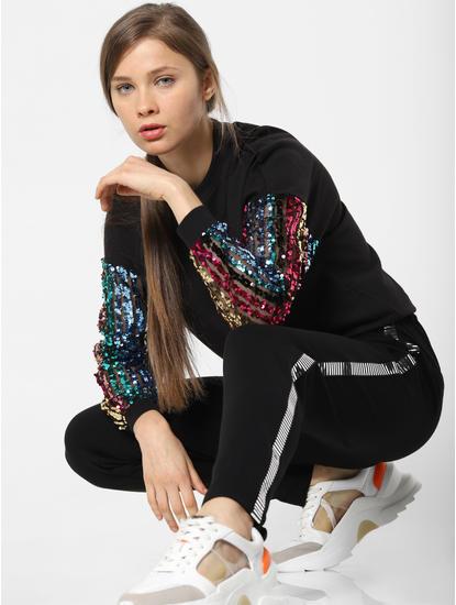 Black Sequin Embellished Sleeves Sweatshirt