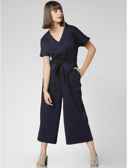 Navy Blue Belted Jumpsuit