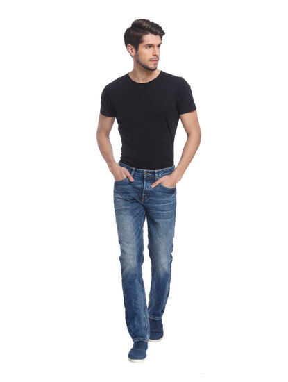 Blue Solid Denim Jeans