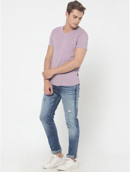 Light Purple V-Neck T-Shirt