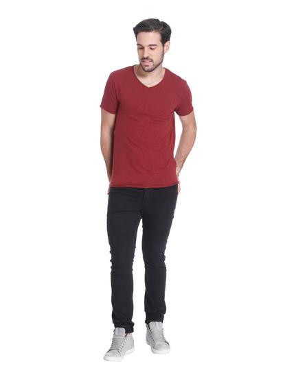 Maroon Slim Fit V-Neck T-Shirt