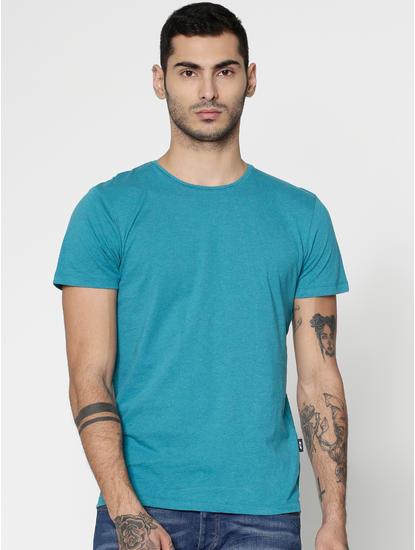 Azure Blue Slim Fit Crew Neck T-Shirt