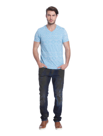 Light Blue Printed V-Neck T-Shirt