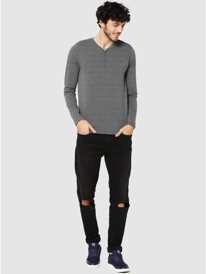 Grey Full Sleeves Henley T-Shirt