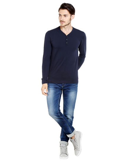 Black Slim Fit Henley T-Shirt