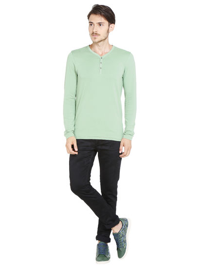 Green Slim Fit Henley T-Shirt