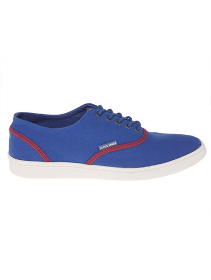 Jack and Jones Blue Lace Up Canvas Shoes with Red Piping