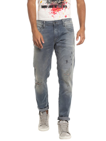Distressed Low Rise Slim Blue Jeans