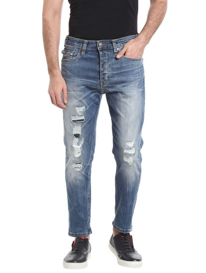 Blue High Rise Relaxed Fit Jeans