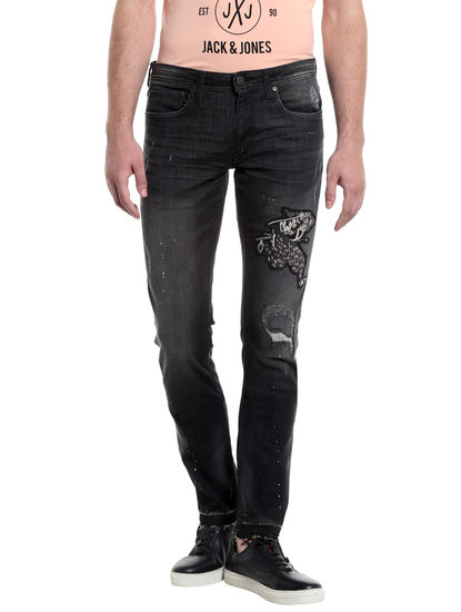 Black Distressed Patchwork Slim Jeans
