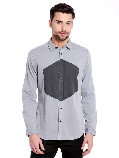 Grey Colour Blocked Denim Shirt
