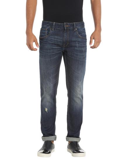 Blue Mildly Distressed Regular Fit Jeans