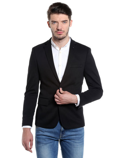 Black Slim Fit Casual Blazer