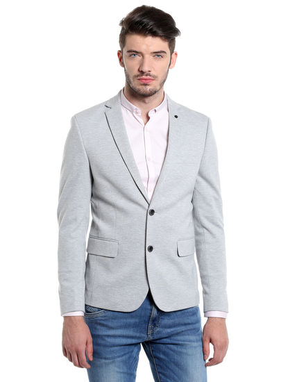 Grey Slim Fit Casual Blazer