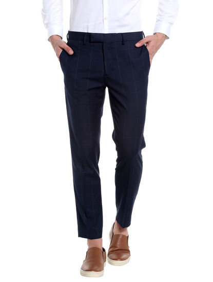 Dark Blue Check Trousers