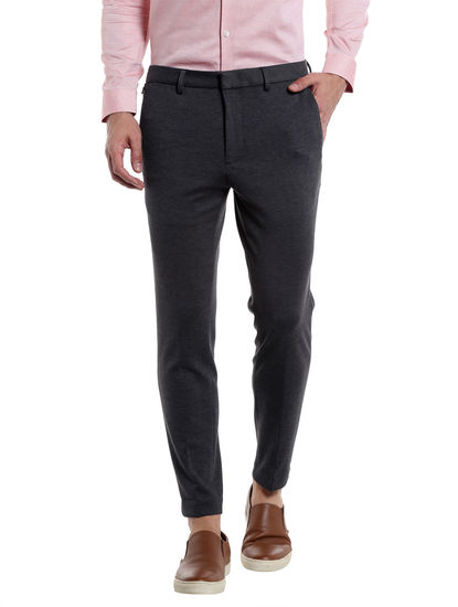 Charcoal Cropped Slim Fit Trouser
