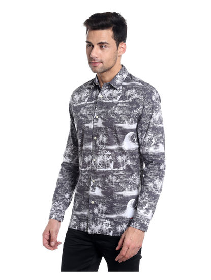Grey Palm Tree Printed Slim Fit Shirt
