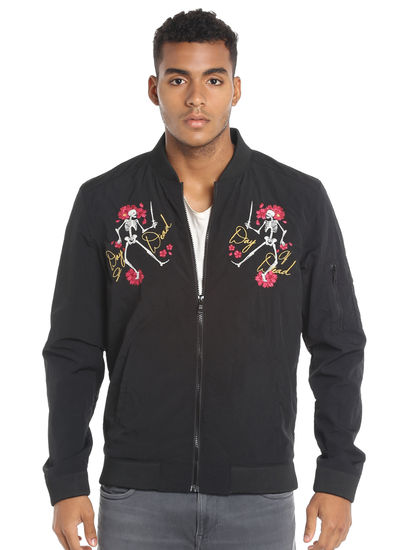 Skeleton Print Black Jacket