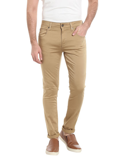 Beige Relaxed Straight Pants