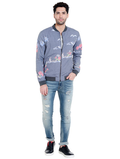 Grey Tropical Print Bomber Jacket