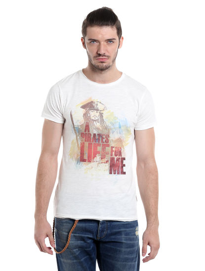 Pirates of the Caribbean White Graphic Print T-Shirt
