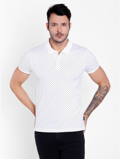 White Polka Dots Polo T-Shirt