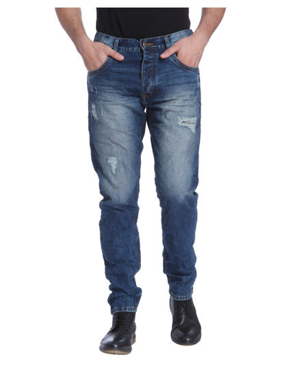 Blue Anti- Fit Distressed Jeans