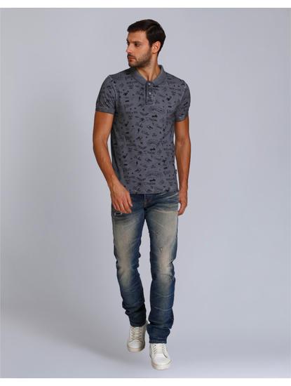 Dark Grey Scribble Print Polo T-Shirt