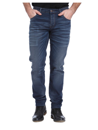 Dark Blue Mid Rise Relaxed Fit Jeans