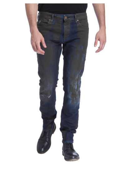 Blue Textured Slim Fit Jeans