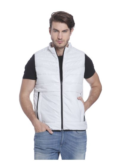White Sleeveless Bomber Jacket