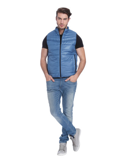 Powder Blue Sleeveless Bomber Jacket