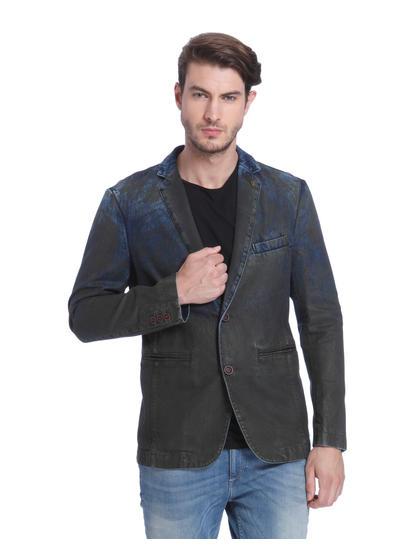 Dark Blue Denim Textured Blazer