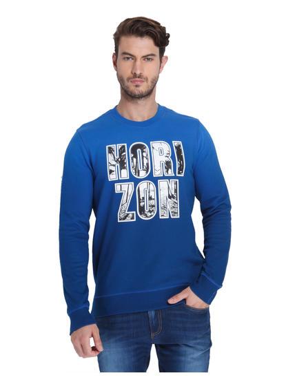 Electric Blue Slogan Print Sweatshirt