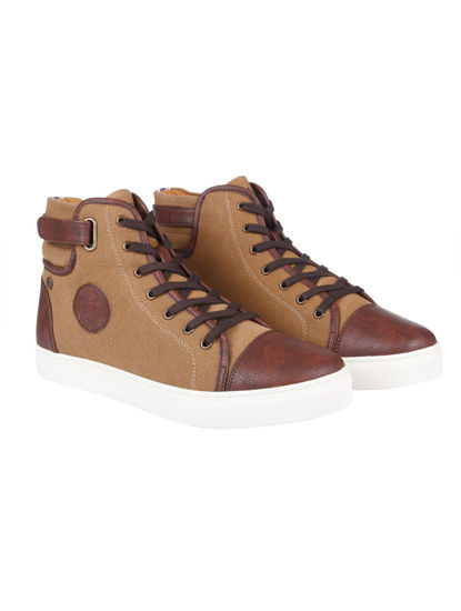 Brown Two Toned High Top Sneakers