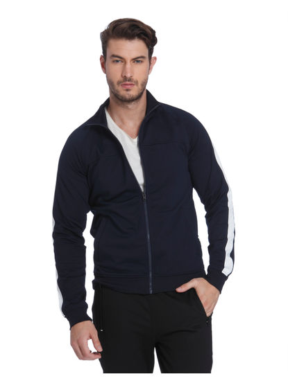 Dark Blue Turtle Neck Zip Up Sweatshirt