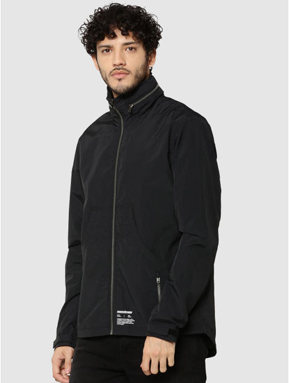 Black Graphic Print Hooded Casual Jacket