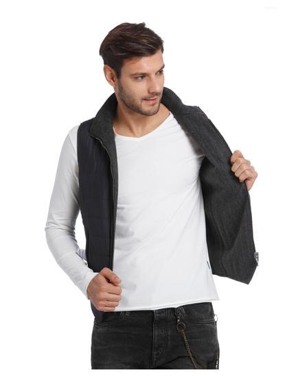 Dark Blue Sleeveless Jacket