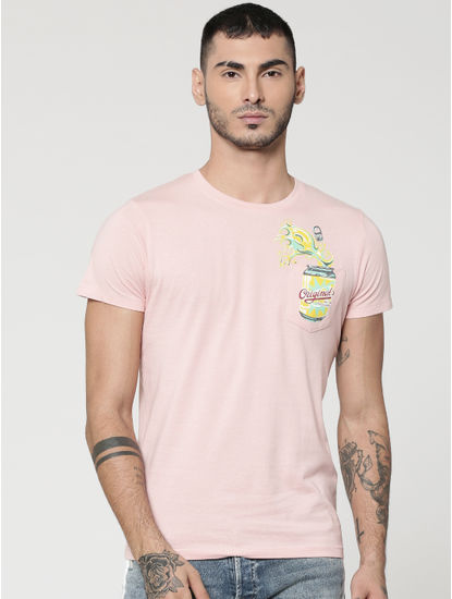 Pink Can Print Patch Pocket Crew Neck T-Shirt