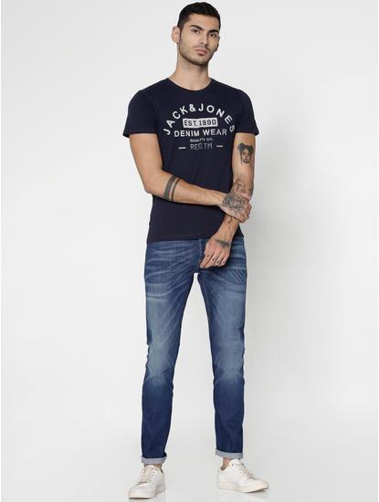 Navy Blue Slim Fit Crew Neck T-Shirt