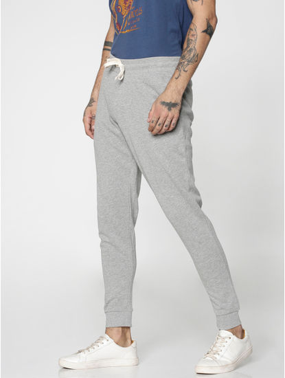 Light Grey Drawstring Low Rise Slim Fit Sweatpants