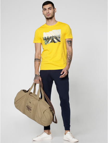 Blue Drawstring Low Rise Slim Fit Sweatpants
